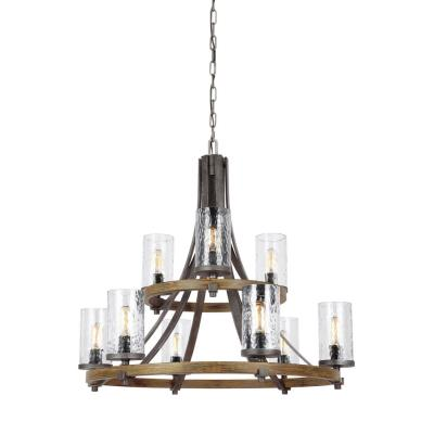 Feiss F3135/9DWK/SGM Angelo - Nine Light 2-Tier Chandelier