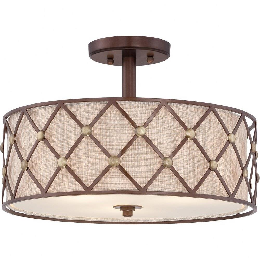 Brown Lattice Three Light Semi Flush Mount